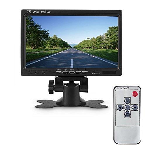 Camecho 7'' HD 800 * 480 TFT Color LCD Monitor de coche Car Rear View Cámara de apoyo para la cabeza Monitor de control remoto Monitor de apoyo Rotación de la pantalla y 2 AV entrada