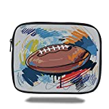 Juzijiang Tablet Bag for iPad Air 2/3/4/mini 9.7 Inch,Sports,Diamond Shape Rugby Ball Sketch with Colorful Doodles Professional Equipment League, Bag