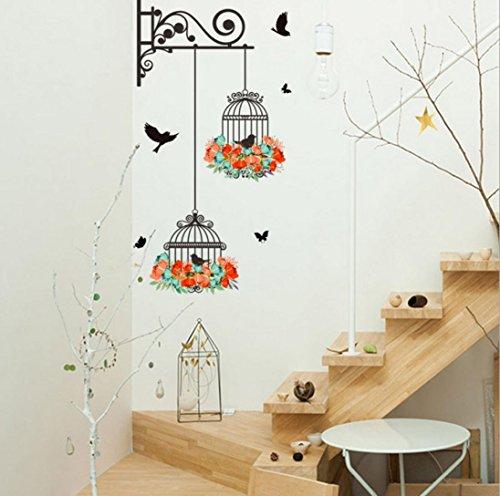 wandaufkleber wandtattoos Sunday Vogelkäfig Dekorative Malerei Schlafzimmer Wohnzimmer TV Wand Dekoration Wandaufkleber Wandbild (70*25cm, Mehrfarbig) (Dekorative Vogelkäfige)