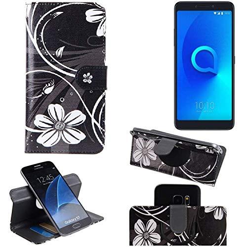 K-S-Trade Schutzhülle Alcatel 3 Hülle 360° Wallet Case Schutz Hülle ''Flowers'' Smartphone Flip Cover Flipstyle Tasche Handyhülle schwarz-weiß 1x