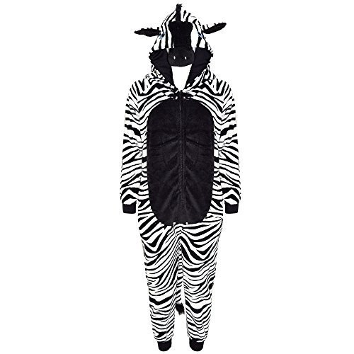 Jungen Für Kostüme Gorilla (Kinder Mädchen Jungen Weich Flauschig Animal Affe Gorilla Leopard Schädel Camofulage Wolf Onesie Kostüm - Jungen, Zebra, 7-8)