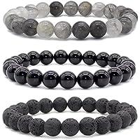 bivei natur Lava Rock Stein Achat Onyx grau Quarz Semi Precious Edelstein Rund Perlen Heilung Kristall Stretch... preisvergleich bei billige-tabletten.eu