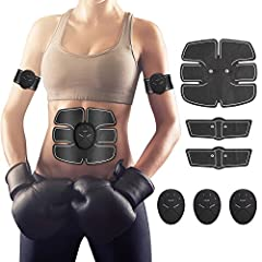 Idea Regalo - Hommie EMS Stimolatore Muscolare, Addominale Tonificante Cintura ABS, Trainer Wireless Portatile per Addome/Braccio/Gamba per Uomo o Donna(Nero)