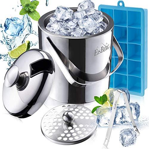 EisBerg 1,3L Eiswürfelbehälter mit Deckel und Zange +GRATIS Eiswürfelform +LFGB Zertifiziert Eiseimer mit Tragegriff Edelstahl Flaschenkühler Eiskübel Bar Zubehör