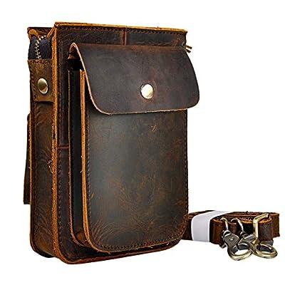 Le 'aokuu Sac bandouillère/pochette de ceinture pour homme en cuir véritable