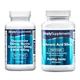Glucosamine, Chondroitin & MSM 120 tablets + Hyaluronic Acid 50mg 180 capsules | May Help Promote Healthy Joint function | 100% money back guarantee | Manufactured in the UK