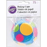 Wilton - Pirottini per dolci, diametro 5 cm, motivo: pois, multicolore, 75 pezzi