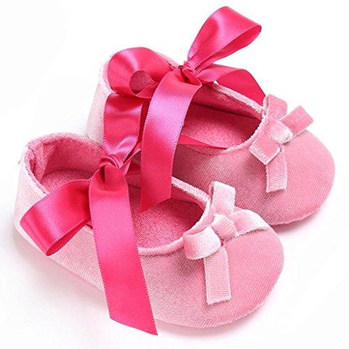 Baby Krippeschuhe, Babyschuhe Longra Kleinkind Baby Mädchen Schuhe Princess Flower Soft Prewalker Lauflernschuhe weiche Sohle Baumwolle rutschfeste Schuhe(0 ~ 18 Monate) Pink
