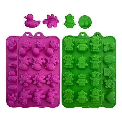 Backformen aus Silikon zum Backen, Bonbons und Schokolade: Kleine flexible Form für harte oder gummiartige Süßigkeiten - Werkzeuge zur Bonbon- und Schokoladenherstellung - Bunte Tabletts, 4er Pack