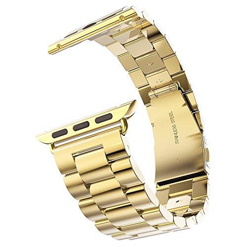 Minidiva Cinturino Sostitutivo di Acciaio Inossidabile per Apple Watch 38mm con chiusura pieghevole a doppia sicura (oro) - Chiusura Pieghevole
