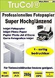 50 Blatt Fotopapier Photopapier DIN A3 265g/qm - einseitig glossy (glaenzend) - sofort trocken - wasserfest - hochweiß - sehr hohe Farbbrillianz fuer InkJet Drucker (Tintenstrahldrucker)