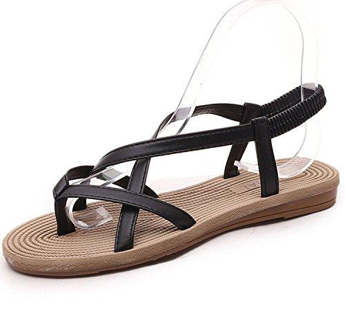Minetom Mujer Verano Sandalias Moda Flip Flops Peep Toe Talón Plano Zapatos Chancletas Negro A 35