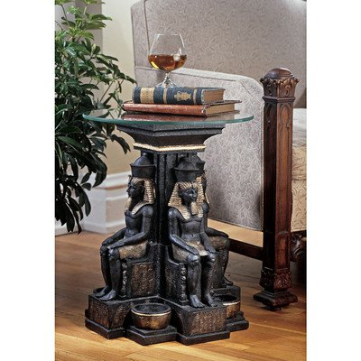 Design Toscano ng30623Ramses II egipcio escultural glass-topped mesa, multicolor