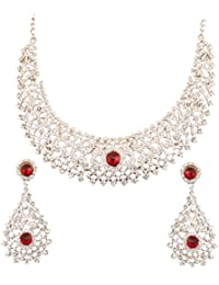 Touchstone Ad Studded Radiant Necklace Set With Maang Tika For Women