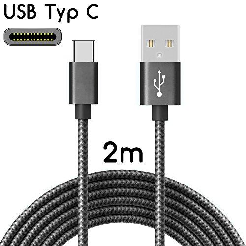 TheSmartGuard | USB-C Kabel auf USB 2.0 | Nylon Ladekabel mit USB-Typ-C-Anschluss | Länge: 2 Meter / 2m | Farbe: Schwarz