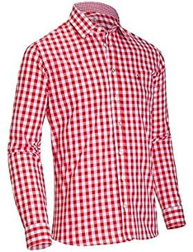 Almsach Herren Slim Fit Trachtenhemd HE173 rot