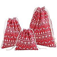 Christmas innovadora Storage Bag Cotton Linen Cordón Bundle Bag dibujos animados Printing Candy Tea Gift Bag, Rojo