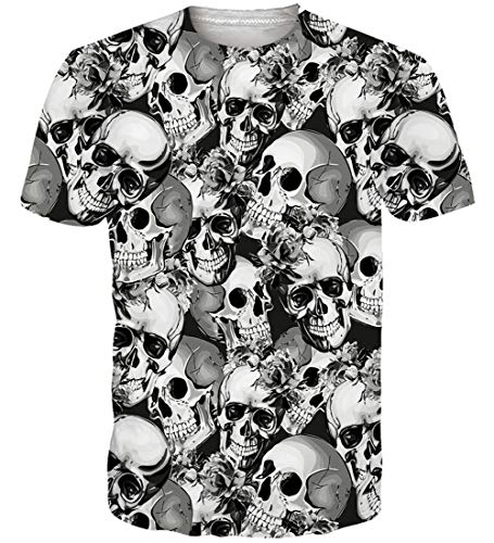 Loveternal Unisex Estampada 3D Skull Camiseta Casual Graphic...