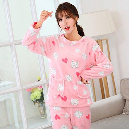 YiLianDa Donne Pigiama a Maniche Lunghe Pigiama Camicia da Notte Sleepwear come immagine(704)