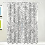 TIZORAX Hermes Silber Damast Blume Vorhänge Verdunkeln isoliert Blackout Fenster Panel Drapes für Wohnzimmer Schlafzimmer 139,7x 213,4cm, Set von 2Panels