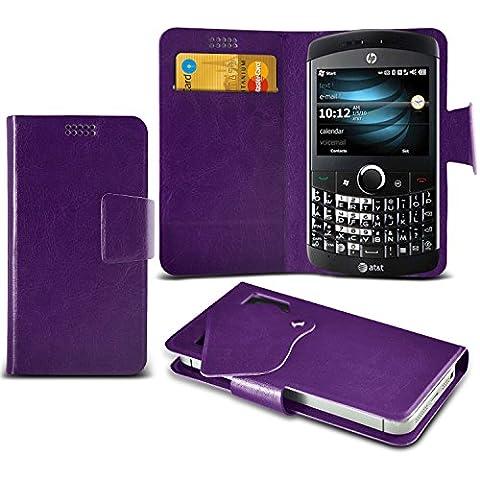 (Purple) HP iPAQ Glisten Caso fino estupendo Faux Leather succión Pad Monedero piel de la cubierta con el crédito / débito ranuras para tarjetasBy