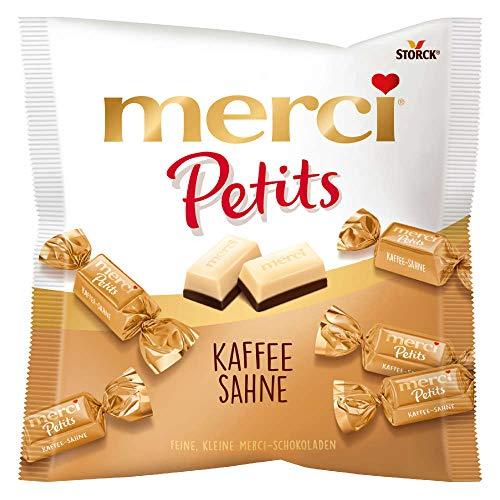 merci Petits Kaffee Sahne - Feine Pralinen aus edler weißer und Kaffee-Sahne Schokolade - kleines Dankeschön für jedermann - 125g