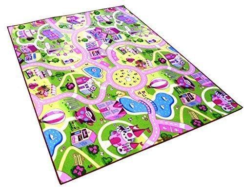 Sweet Girl Town Spielteppich Strassenteppich Kinderspielteppich Mädchen Teppich, 120 x 200 cm