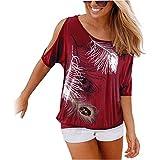 Aoweite Frauen aus der Schulter Kurzarm T-Shirt Rundhals Feder Druck Tops (L, Rotwein)