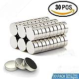 30 Stück Neodym Magnete, klein, rund & extra stark, Mini-Magnete(6 mm x 3 mm) für Fotos, Whiteboard, Kühlschrank, Magnetstreifen, Magnettafel, Fotoseil, Basteln und vieles mehr
