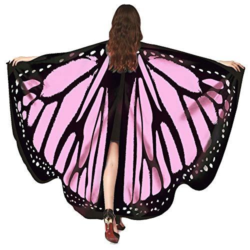 WOZOW Damen Schmetterling Schmetterlingsflügel Kostüm Faschingkostüme Poncho Schal Tuch Umhang für Party Cosplay Karneval Fasching (Rosa)