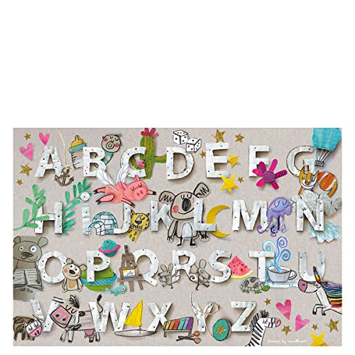 Laroom 14290 Alfombra Vinílica Infantil Diseño Abecedari, Vinilo Antiliscante, Gris, 100x133 cm