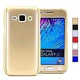 COOVY Funda para Samsung Galaxy J1 SM-J100 SM-J100F (Model 2015) 360 Grados, Carcasa Ultrafina y Ligera, con Protector de Pantalla, protección de Cuerpo Completo   Color Oro
