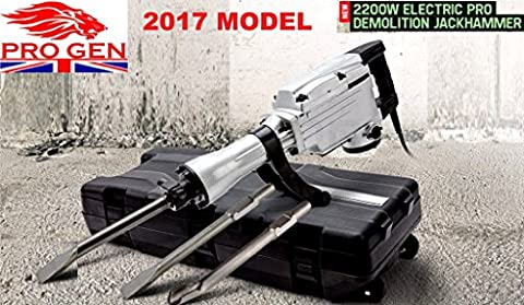 PROGEN ELECTRIC 2200W DEMOLITION JACKHAMMER CONCRETE BREAKER DRILL TOOL CHISEL WITH FREE BITS AND CARRY CASE