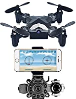 Arvin Mini Drone, 4CH 4 Axis Remote Control Helicopter Outdoor Mini Foldable RC Quadcopter Toy with 0.3MP WIFI FPV Camera and 2.4G Frequency Watch Style Controller –Pocket Size for Kids, Teenagers Halloween Gifts and Christmas Presents by arVin