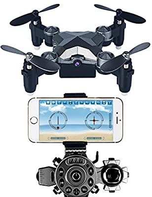 Arvin Mini Drone, 4CH 4 Axis Remote Control Helicopter Outdoor Mini Foldable RC Quadcopter Toy with 0.3MP WIFI FPV Camera and 2.4G Frequency Watch Style Controller –Pocket Size for Kids, Teenagers Halloween Gifts and Christmas Presents