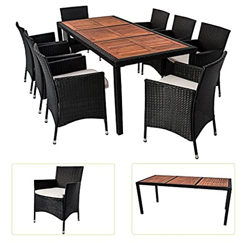 Polyrattan Essgruppe Rimini XL für 8 Personen mit Akazienholz Tischplatten