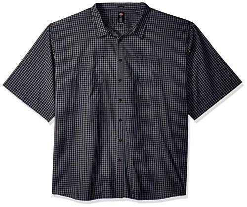 Dickies Herren Yarn Dyed Plaid Short Sleeve Shirt Big-Tall Button Down Hemd, Black/Blue/Grey Check, 3X -