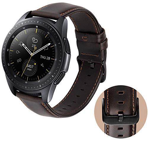 MroTech Cinturino 20mm Pelle Compatibile per Amazfit bip, Garmin Vivoactive 3 / Vívomove HR, Samsung Galaxy Watch 42mm/ Gear Sport/Gear S2 Classic, TicWatch E, Huawei 2 20 mm Band di Ricambio, caffè