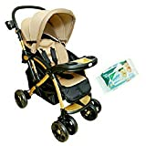 #6: HARRY & HONEY SATIN FINISH BABY STROLLER BEIGE WITH WIPES