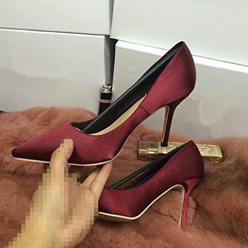 Oasap Women's Pointed Toe Solid Stiletto Slip-on Pumps Burgundy
