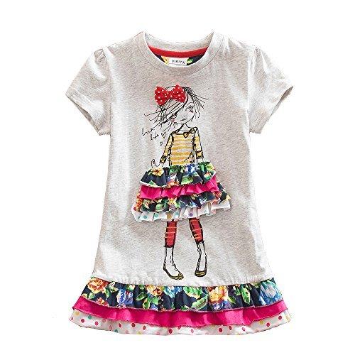VIKITA Mädchen Sommer Blume Kurze Ärmel Baumwolle Freizeit Kleid SH3660 5T