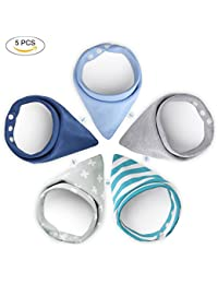 YISSVIC 5 Pcs Baberos para Bebes Bandanas Bebé Diseño Unisex 100% Algodón para Niño 0-3 Años