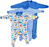 #7: Baby Grow Boy's Mini Berry Long Sleeve Cotton Sleep Suit Romper Set Of 3 ( Blue,3-6 months)