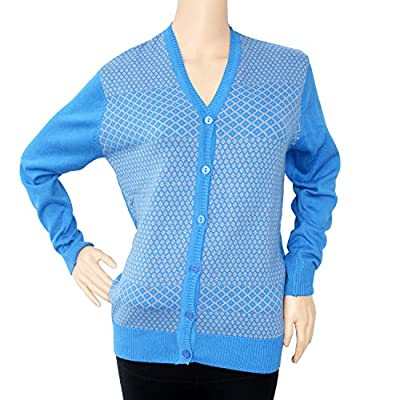 Matelco Women's Blue Acrylic Wool V-Neck Cardigan For Women