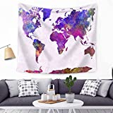 World map Wall Hanging Tapestry, Decor Tapestries, Print Painting Tapestry, Handmade Badsheet Blanket, Bedding Bedspread, Picnic Beach Sheet, Table Cloth, Decorative Wall Hanging, 79x59 Inch, By Eleoption