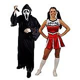 Déguisement pour couple adulte du plus célèbre film d'horreur des années 90 avec la tenue Homme (XLarge) un masque blanc, une toge noire, un couteau et la tenue Femme (XLarge) une jupe rouge Cheerleader. Idéal pour les enterrements de vie de garçon et de jeune fille ou les fêtes d'Halloween.
