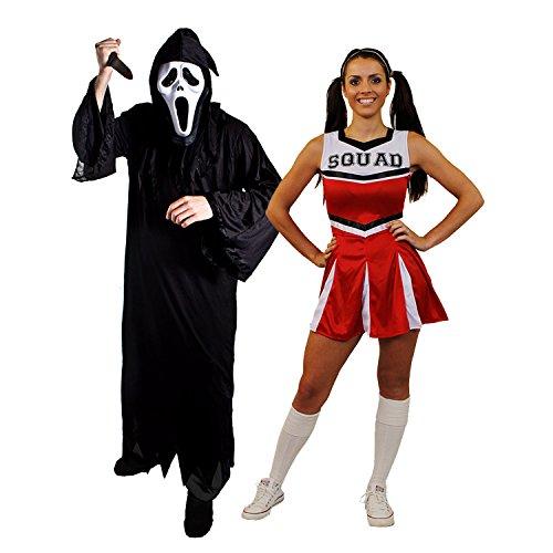 oween Paar=ROTES Cheerleader+SCHREI/SENSENMANN=KOSTÜM VERKLEIDUNGEN=DAS Kleid HAT DIE Aufschrift Squad=Reaper+Maske + Messer= Reaper-XXXLarge+ XLarge-Cheerleader ()