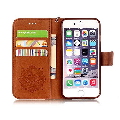 Tasche iPhone 6S, Anfire Apple 6 Hülle in Rot Magnetverschluss Kartenfächer Klapptasche Stil Schutzhülle Handyhülle Apple iPhone 6 / 6S (4.7 zoll) Premium Geldbeutel Kunstleder Flip Taschenhülle Case  braun