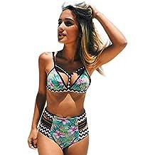 Rcool Push-up Traje de Baño Acolchado Bra Bikini Floral para Mujeres (que contiene el cojín del pecho)