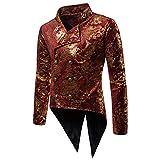 Shujin Herren Vintage mit Blumen Drucken Frack Steampunk Gothic Jacke Victorian Mantel Performance-Kostüm Fasching Karneval Uniform Mantel
